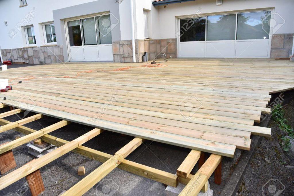 Wooden deck under construction